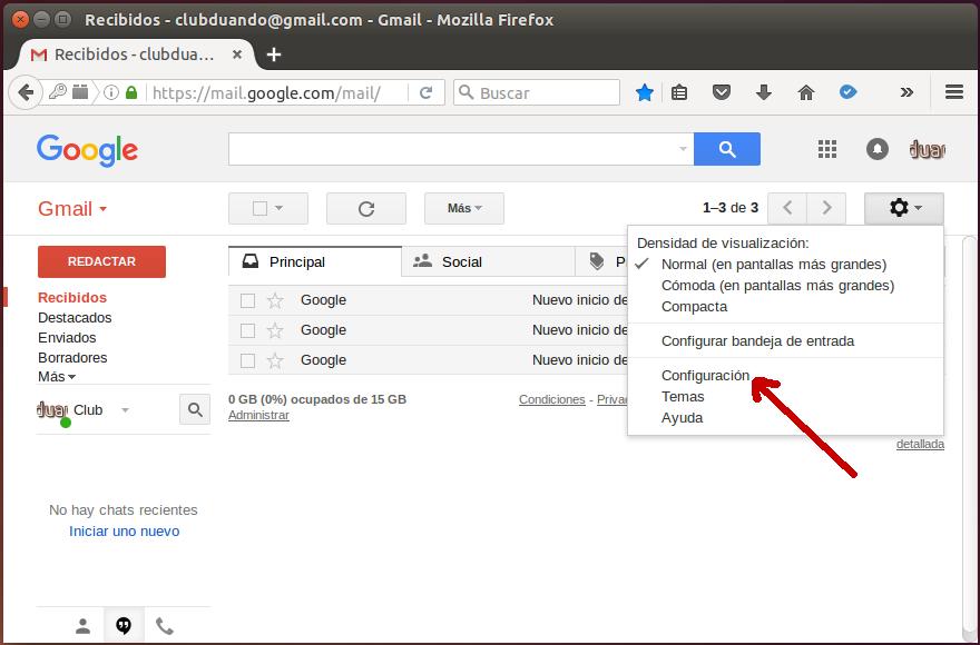 Configuración de Gmail 1