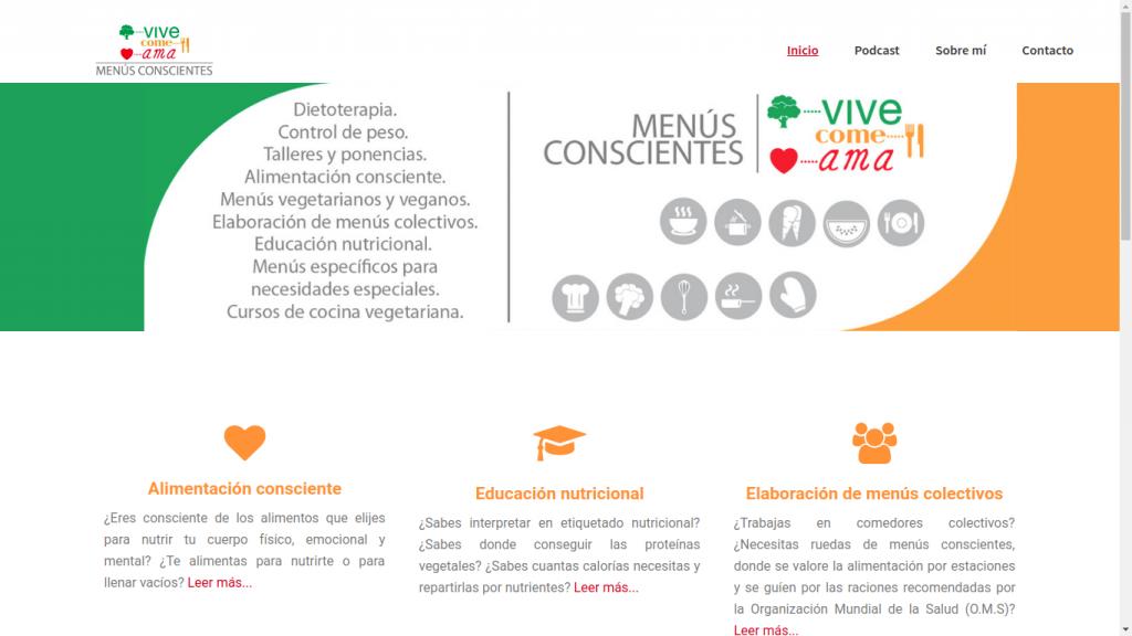 Pantallazo de la web de vivecomeama