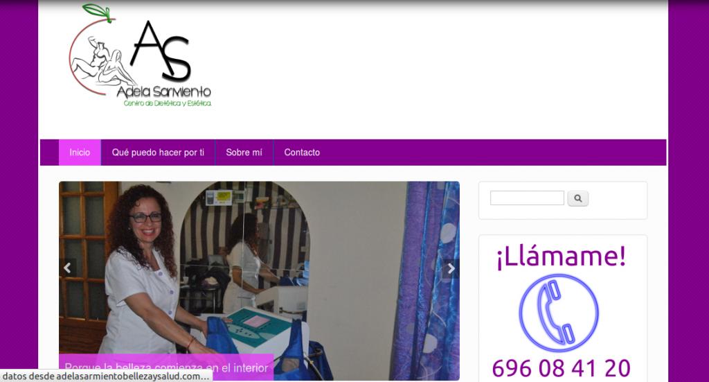 Pantallazo de la web de Adela Sarmiento