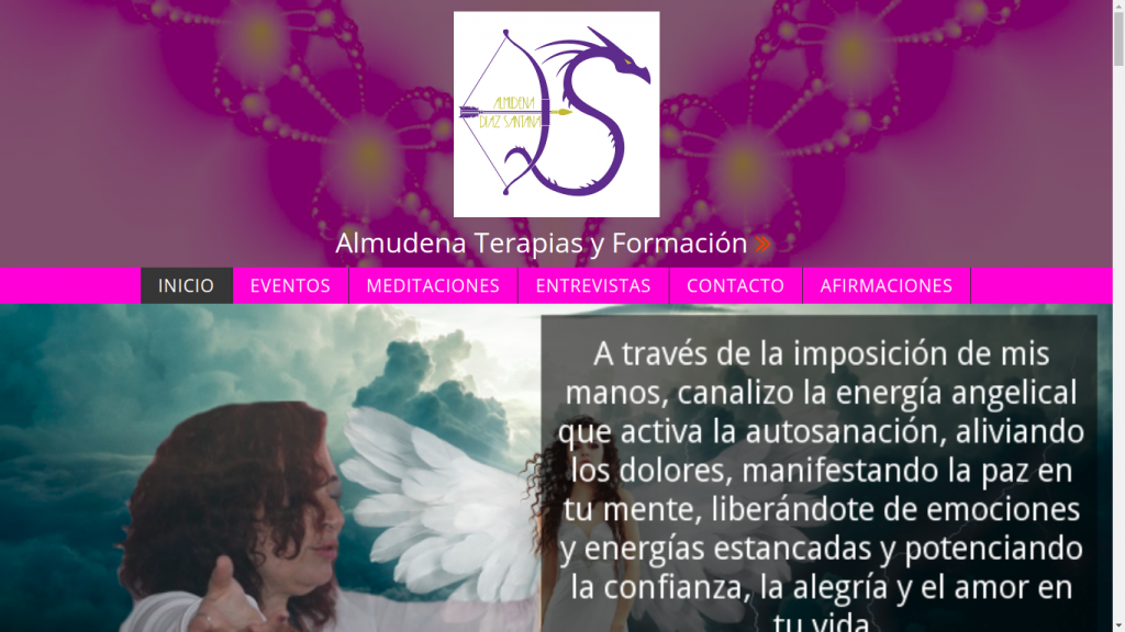 Pantallazo de la web de Almudena Terapias y Formación