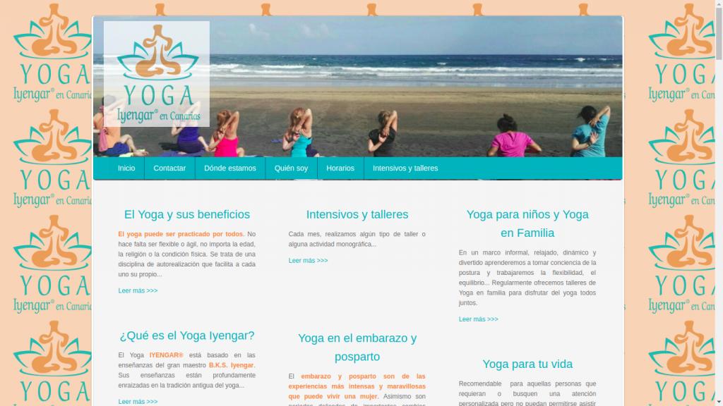 Pantallazo de la web de Iyengar Yoga Canarias
