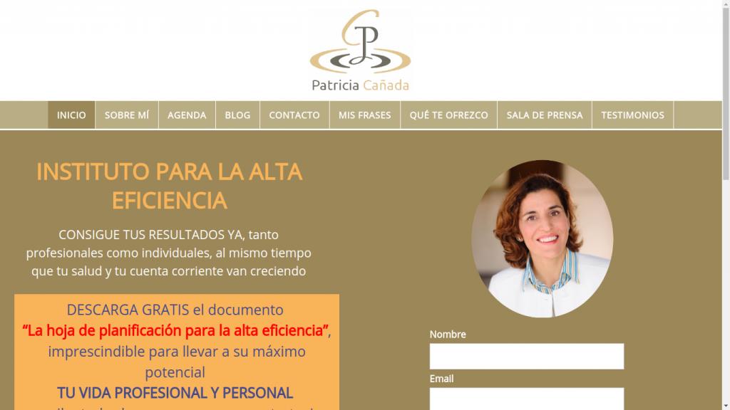 Pantallazo de la web de Patricia Cañada
