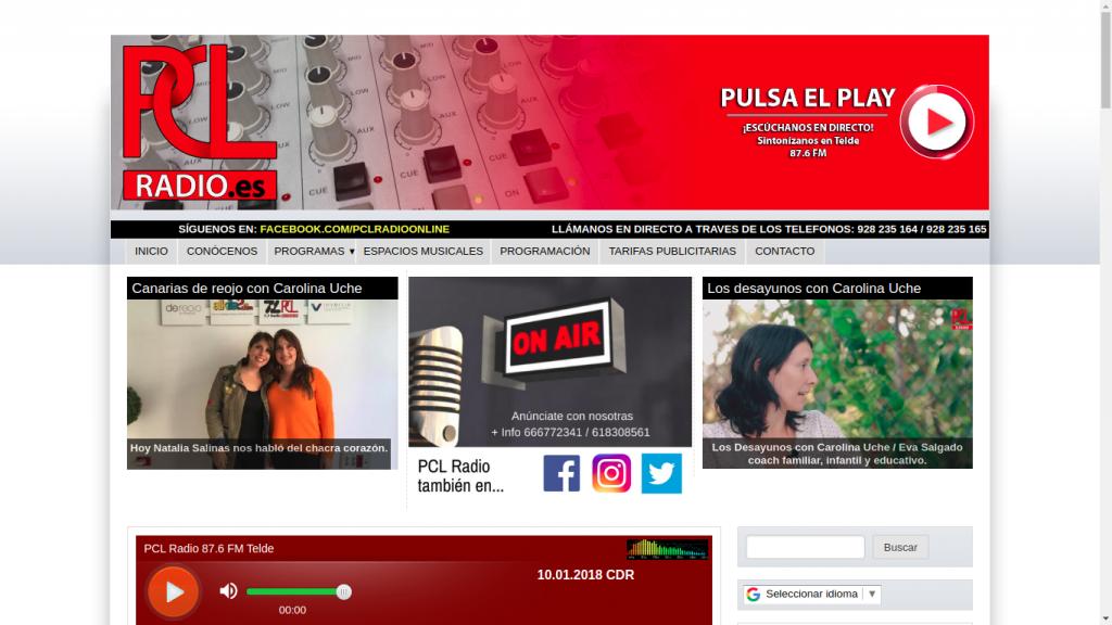 Pantallazo de la web de PCL Radio