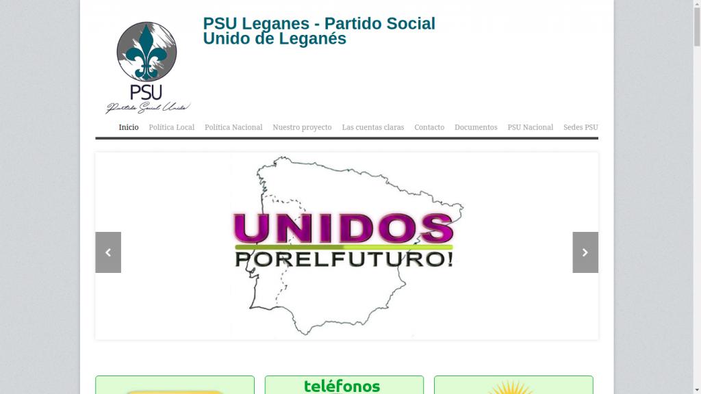 Pantallazo de la web de PSU Leganés