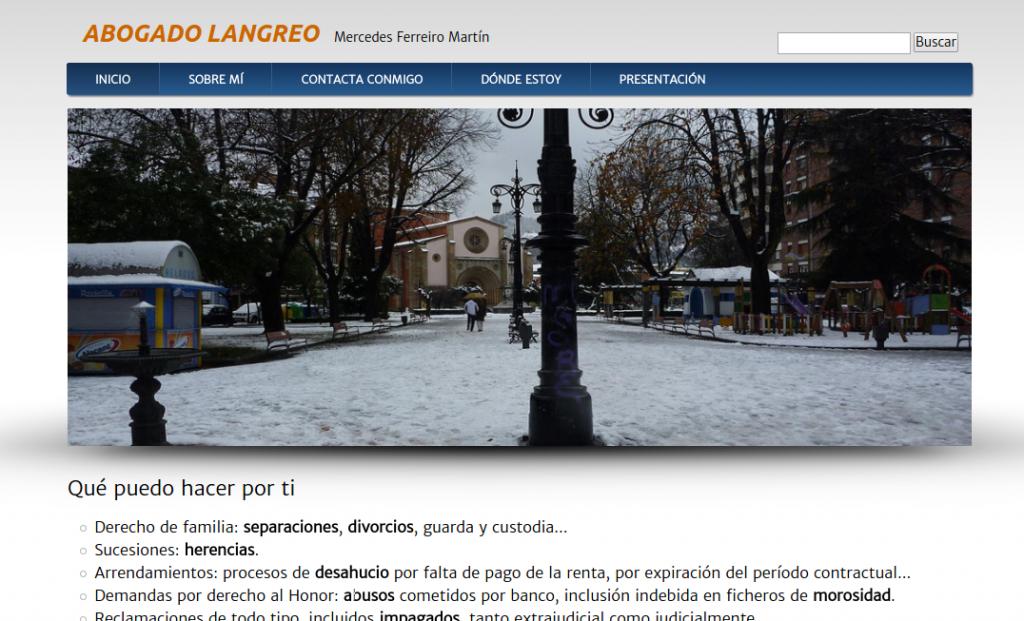 Pantallazo de la web de Abogado Langreo