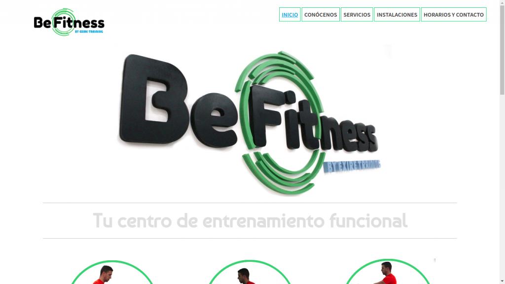 Pantallazo de la web de Be Fitness