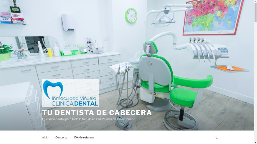 Pantallazo de la web de la Clínica Dental de Inmaculada Viñuela