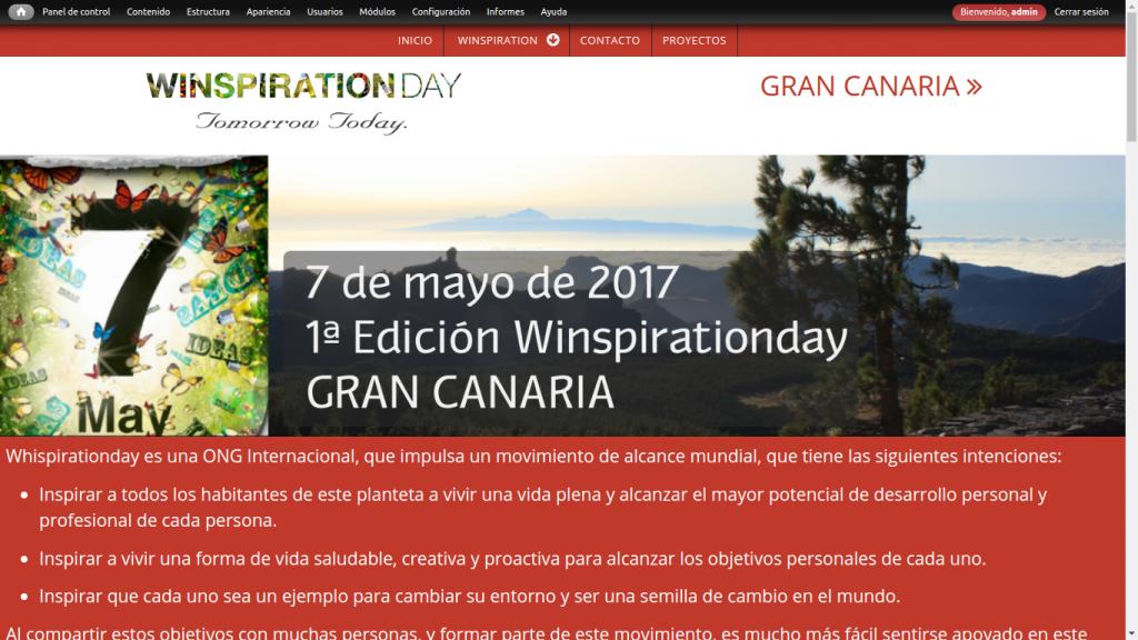 Pantallazo de la web de winspirationday gran canaria