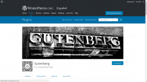 Captura de pantalla de wordpress.org - Gutenberg