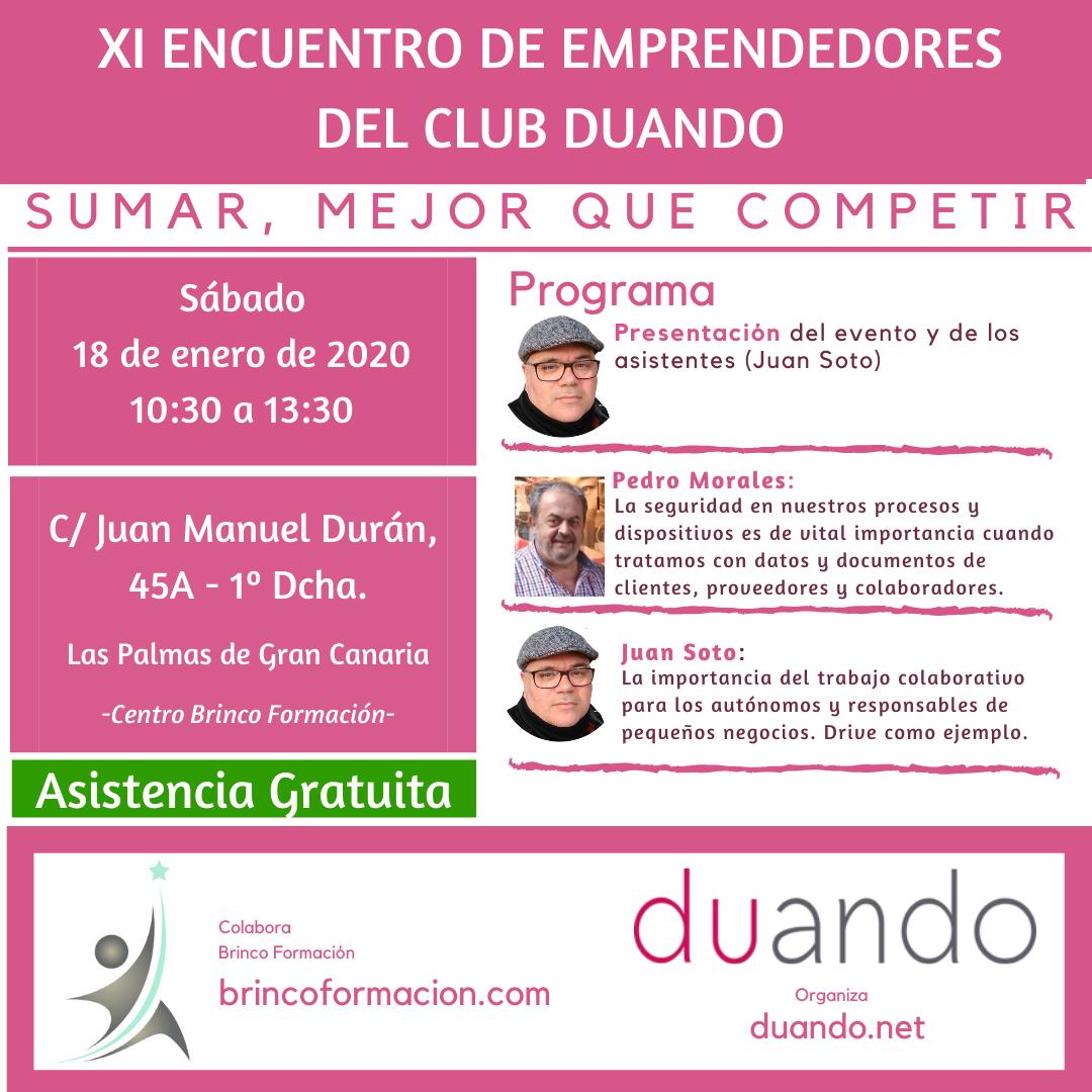 cartel del 11 encuentro de emprendedores del Club Duando