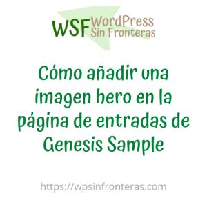 Cómo añadir una imagen hero en la página de entradas de Genesis Sample