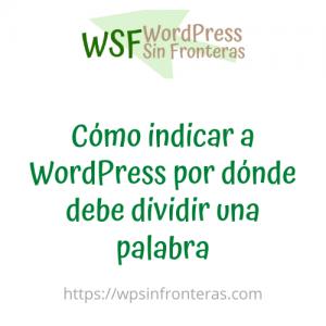 Cómo indicar a WordPress por dónde debe dividir una palabra