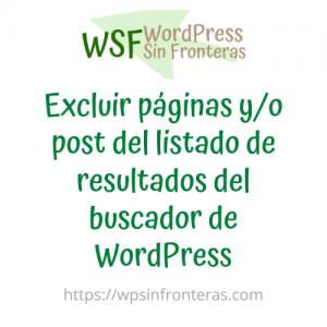 Excluir páginas y/o post del listado de resultados del buscador de WordPress